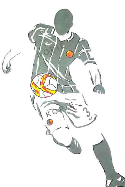Handgeschilderde voetballer