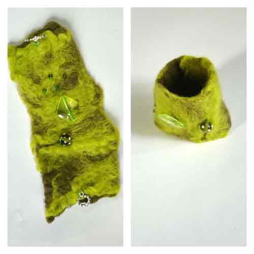 Armband van vilt met kralen (groen)