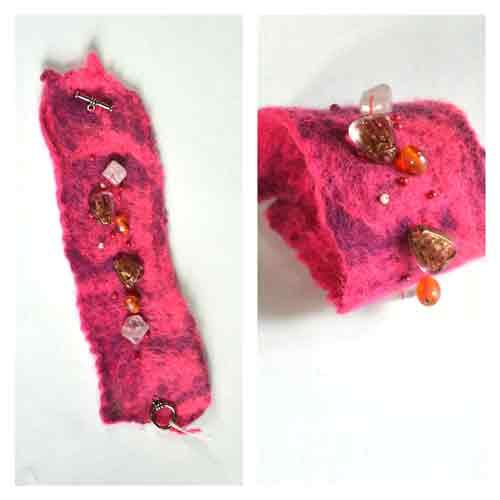 Armband van vilt met kralen (roze)