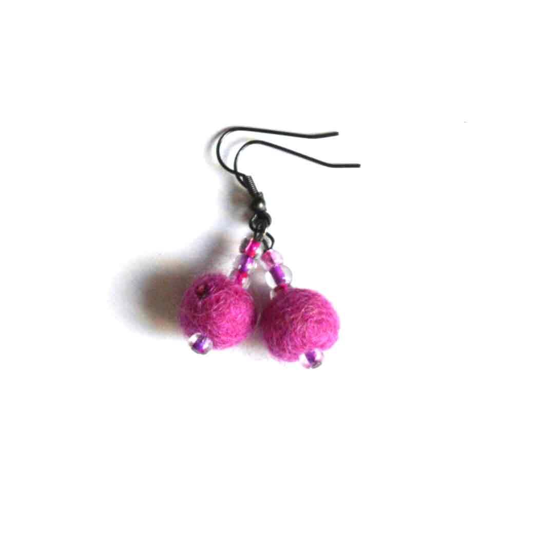 Oorbellen van vilt (roze)